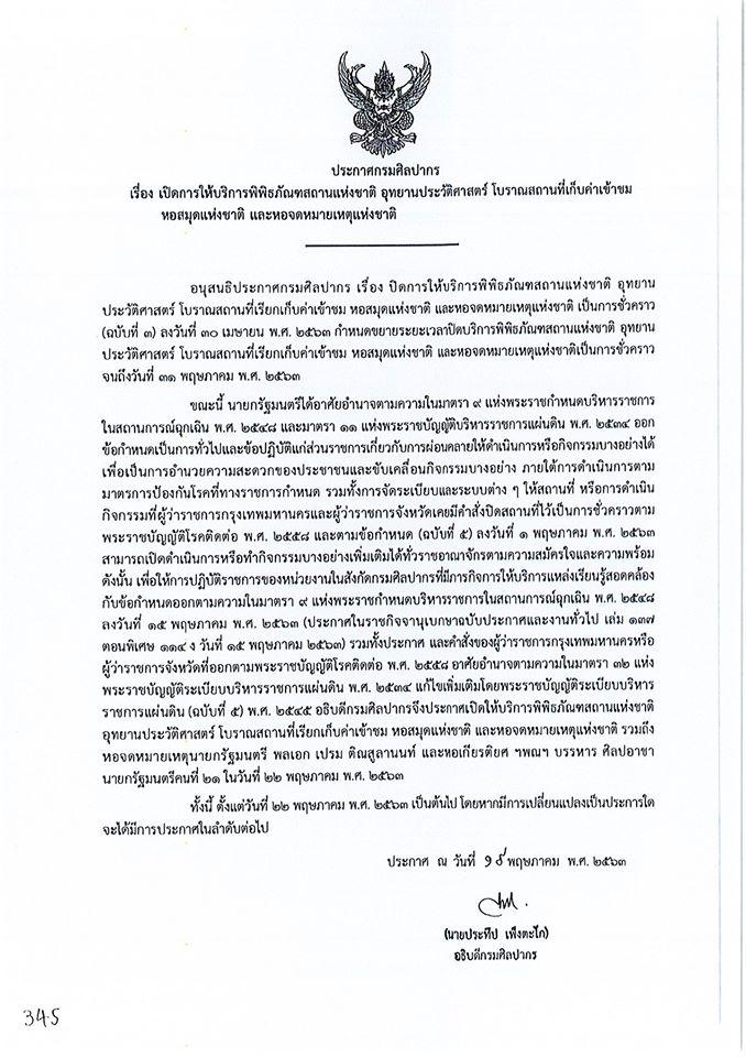 พิพิธภัณฑสถานแห่งชาติ ร้อยเอ็ด เปิดให้บริการแหล่งเรียนรู้ภายในวันศุกร์ที่ 22 พฤษภาคม 2563